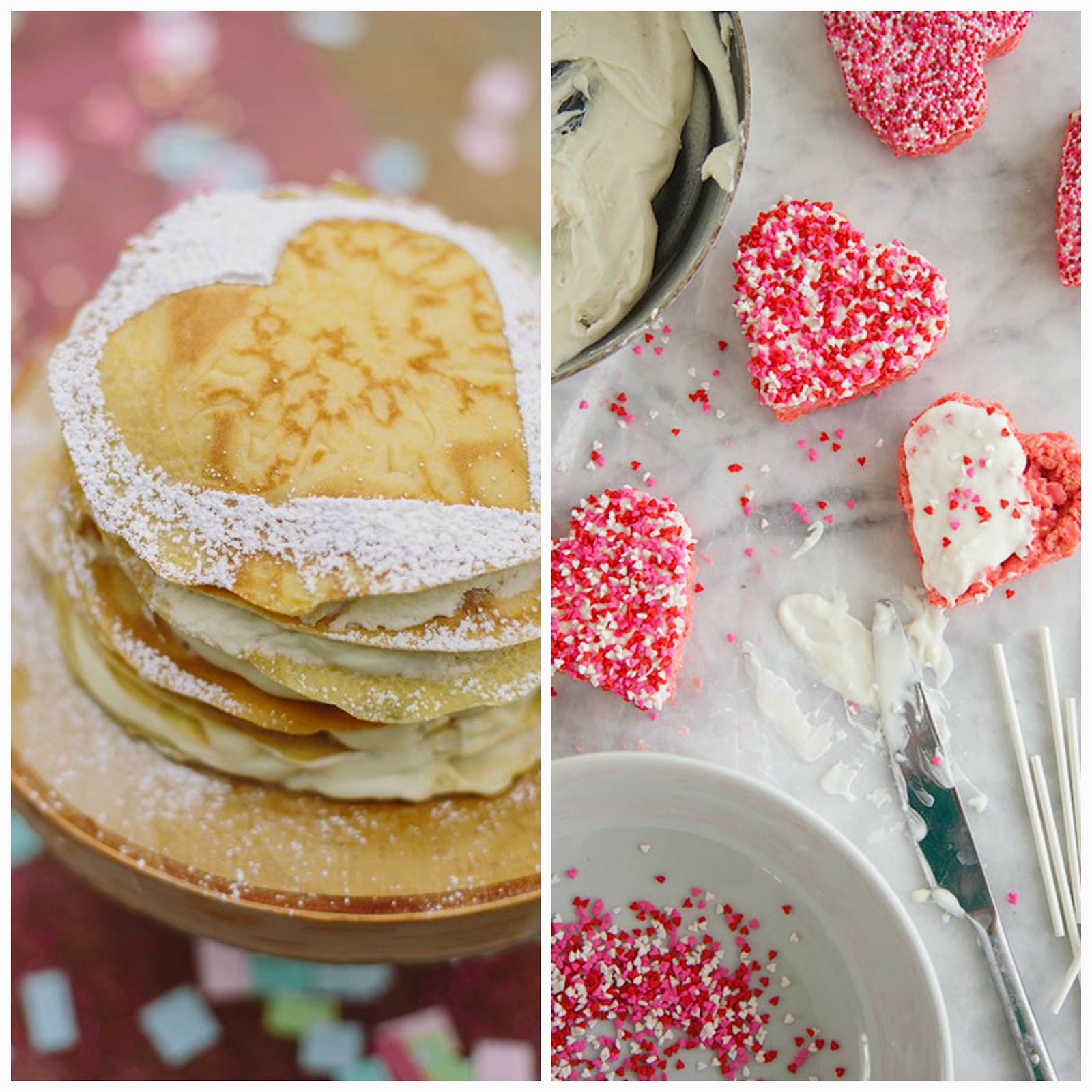 crepe cake with mascarpone cream filling and rice krispie valentine lollipops