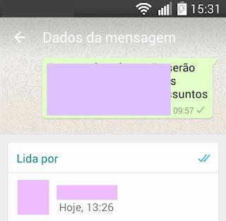 WhatsApp- informações da mensagem selecionada