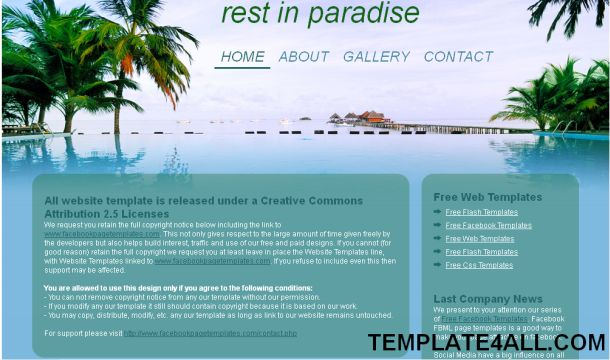 Free HTML Blue Beach Travel Web Template