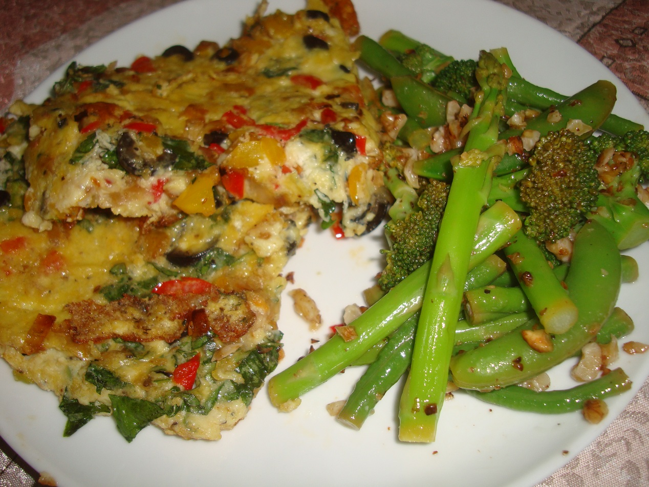 Biuty Burritos: OLIVE FRITTATA WITH GREEN VEGETABLES SALAD