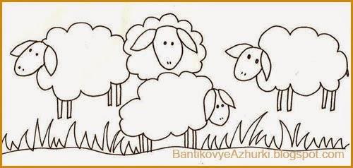 схема-шаблон рисования овечки (овцы)