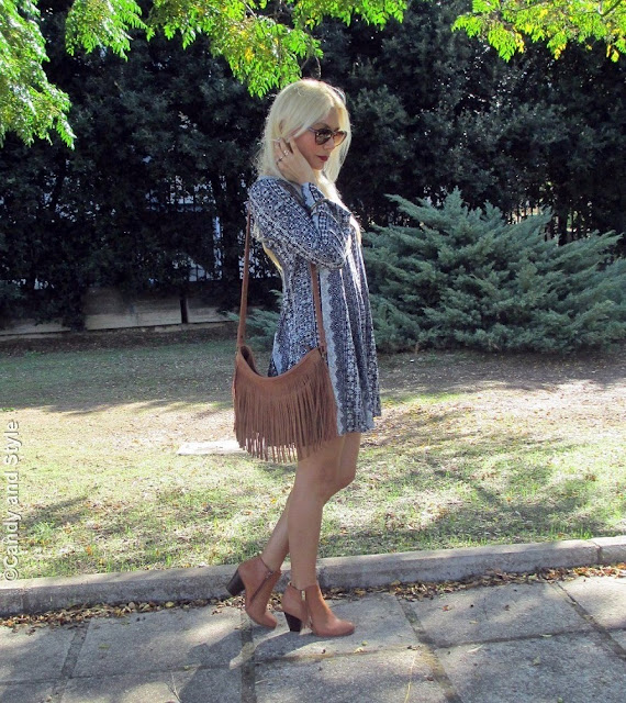 HairExtensions+VintageShades+TunicDress+FringedBag+AnkleBoots+RedLips - Lilli Candy and Style Fashion Blog