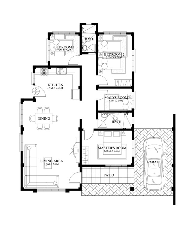 Free lay out and estimate philippine bungalow house for Floor plans for 160 000