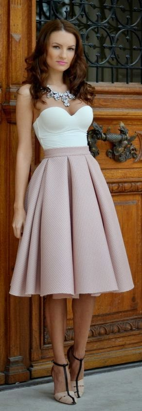 style high waist blush tulip skirt