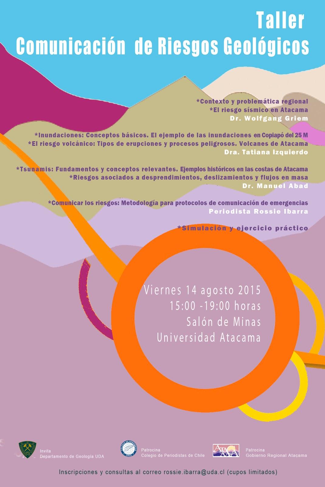 "INVITACIÓN TALLER: ""Comunicación de Riesgos Geológicos"" (Universidad de Atacama)"