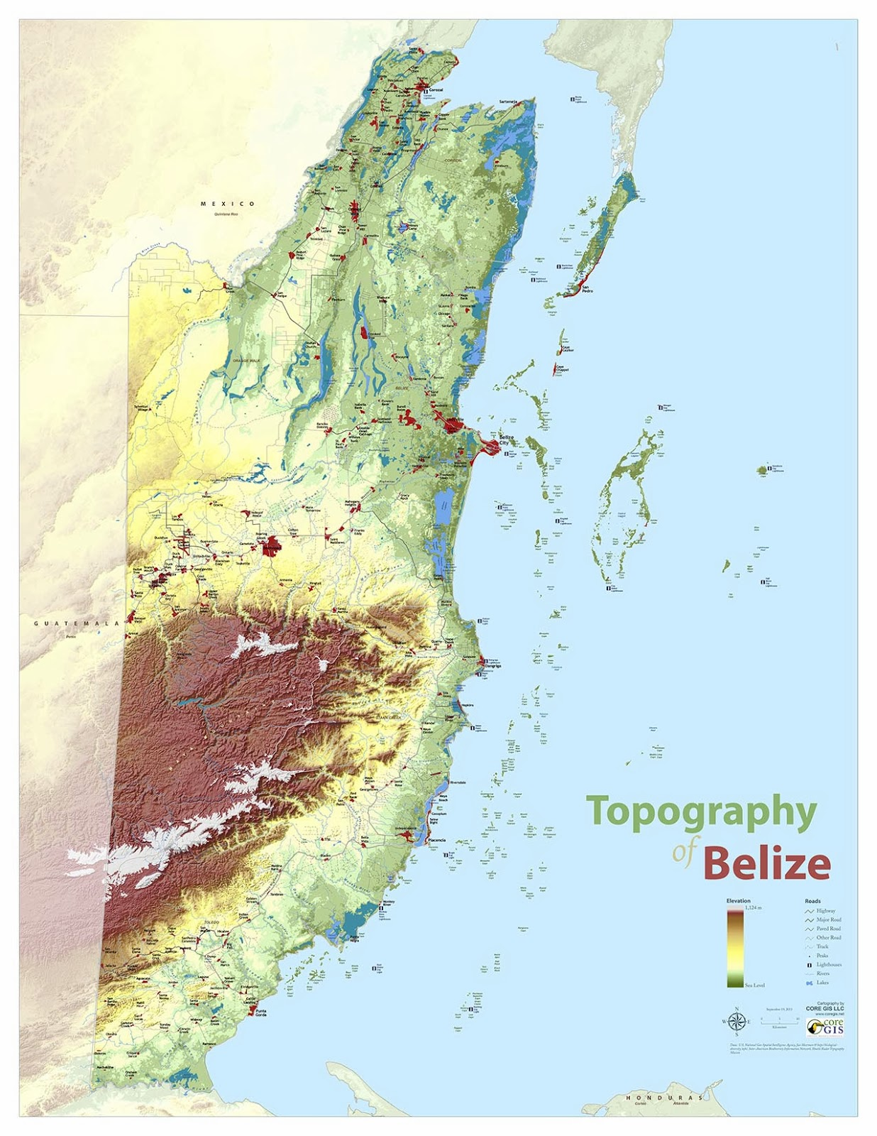 Belize Topographic Map