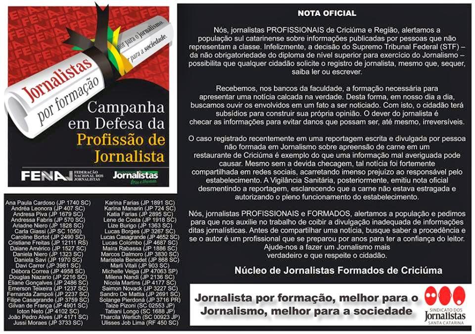 JORNALISTAS DE CRICIÚMA COLOCAM A PRÓPRIA MORAL NO RALO
