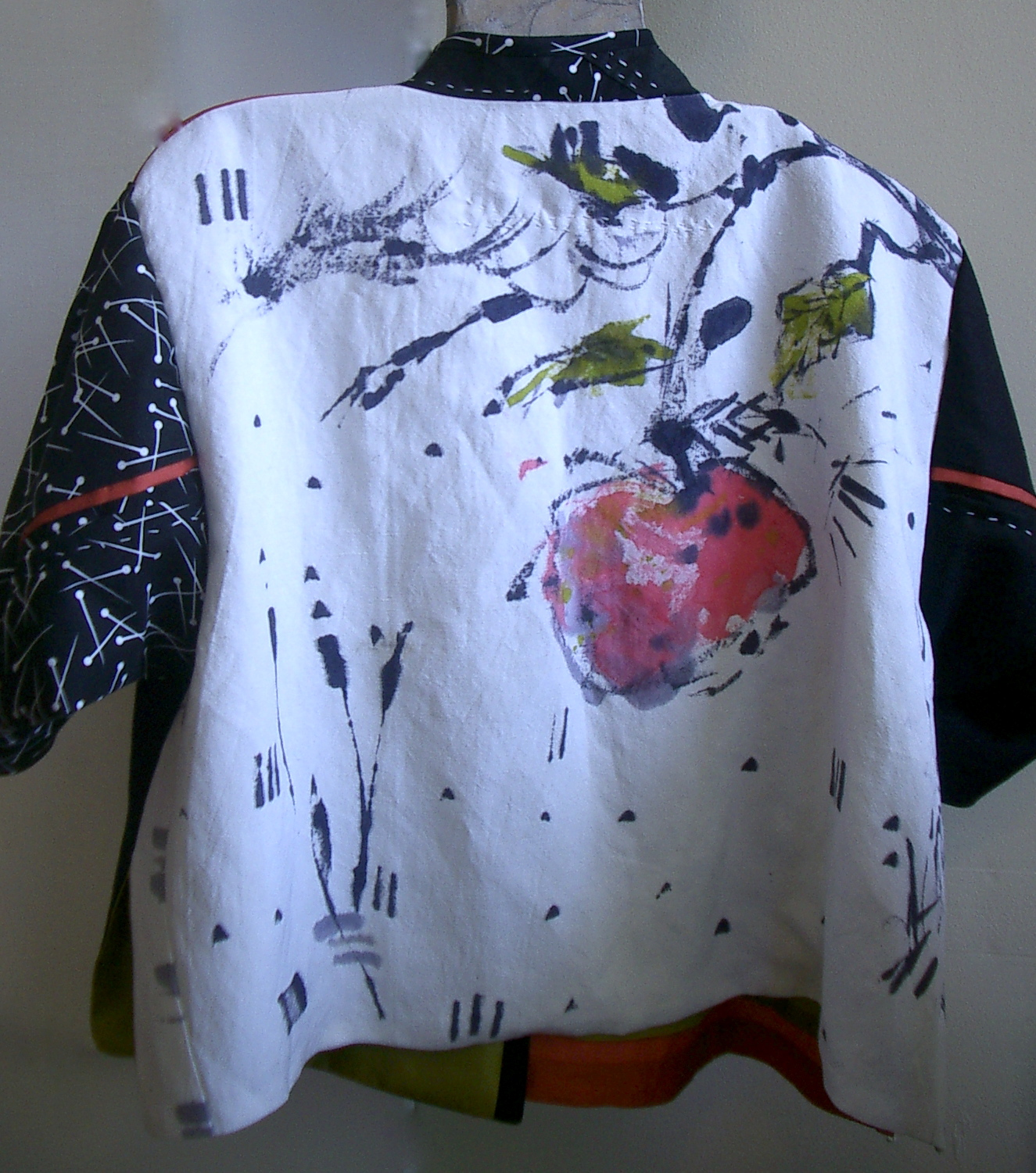 Shirt design with fabric paint - Brush Painted Persimmon Design