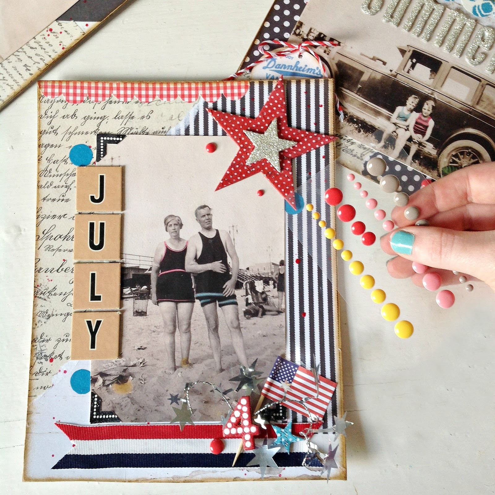 Patriotic Mixed Media Collage Fan Decorations Diy Using Pre Made