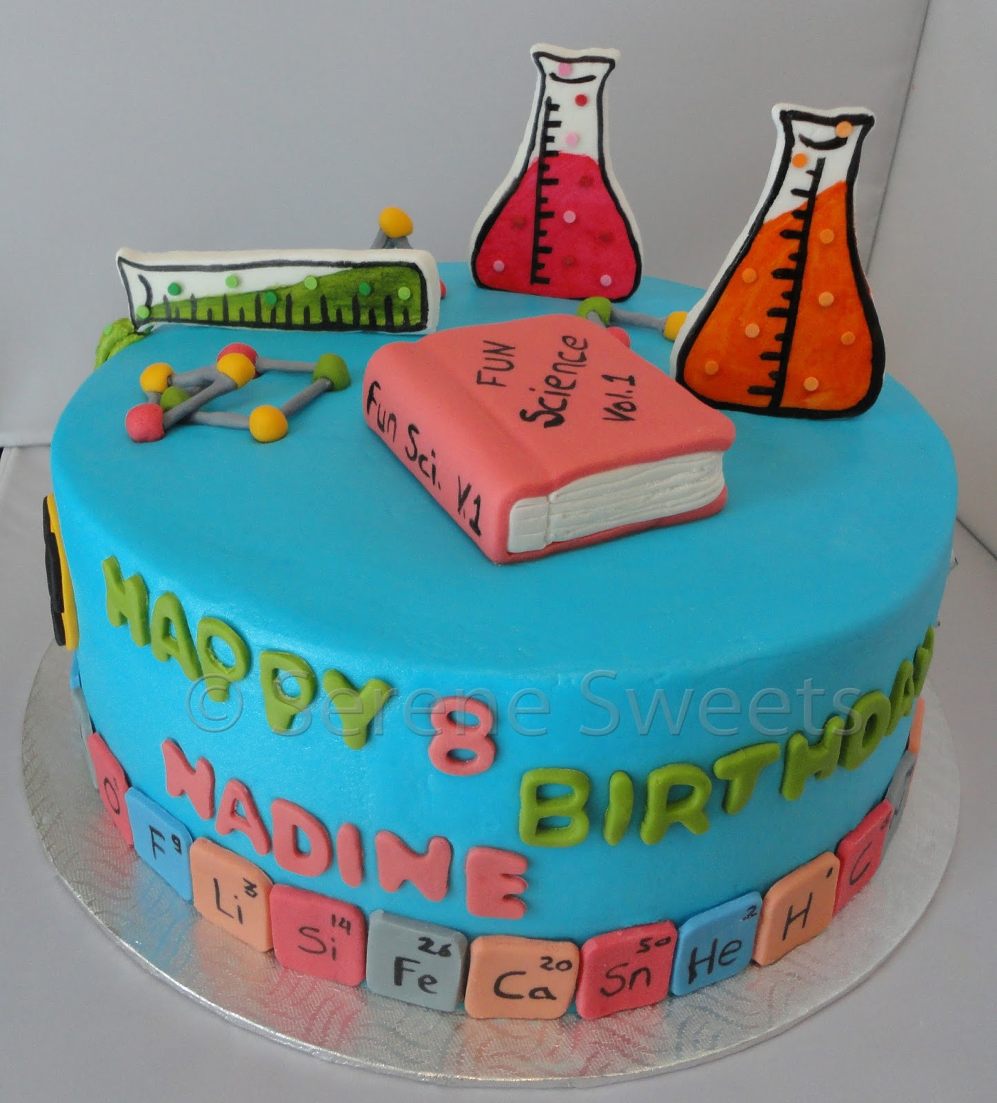 Serene sweets science cake what a fun birthday idea and a fun cake to go along with it meant to be explored with many elements from the periodic table along the bottom gamestrikefo Choice Image