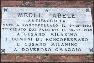 Garolda, targa in ricordo di Abele Merli