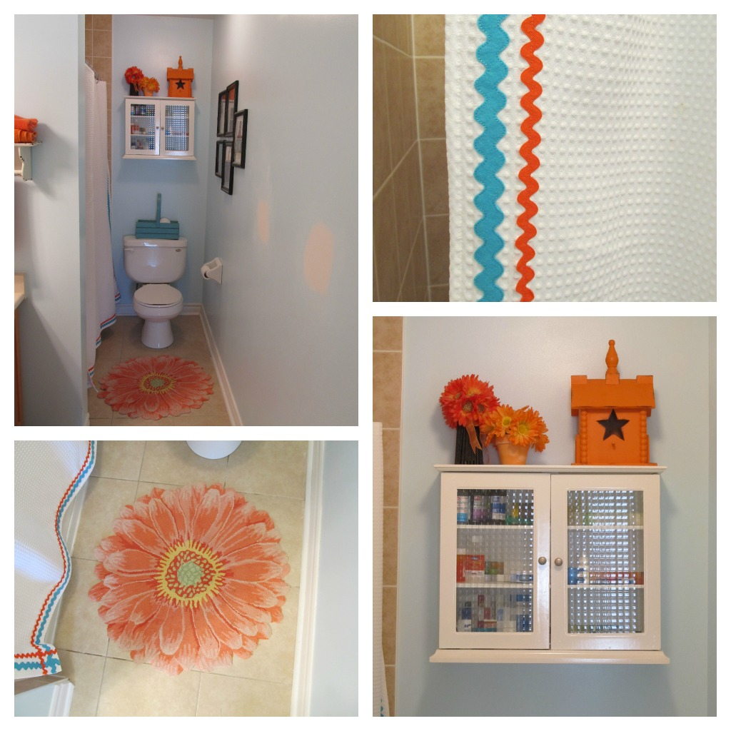 Turquoise Stenciled Walls In The Kids Bathroom