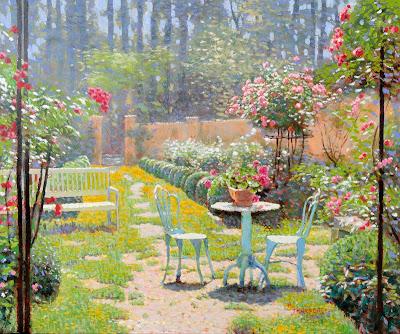 jardim  impressionista Raquel Taraborelli Impressionist Garden oil painting - Giardino impressionista Olio su tela - Jardin impressionniste - peinture