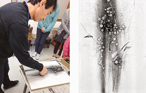 横浜美術学院の中学生教室 美術クラブ K先生のデッサンデモンストレーション