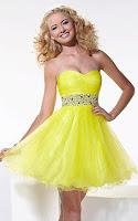 Къса рокля без презрамки с ефирна пола в неоново жълто-зелено, дизайн Hannah S