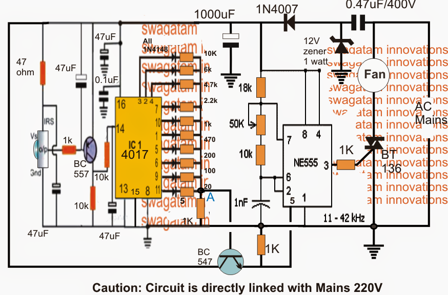 Remote Controlled Fan Dimmer Switch Circuit