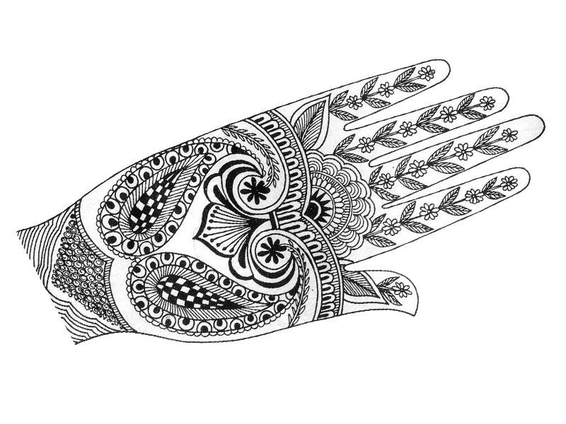Henna Tattoo Coloring Pages Color Designs.beautiful Henna