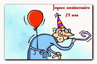 Voeux de Bonne Fête d'anniversaire 72 ans