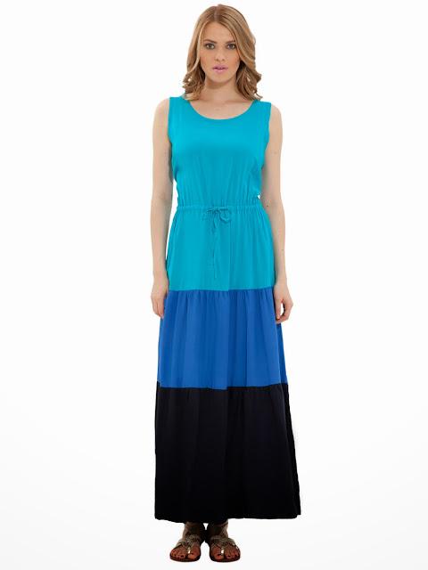 uzun mavi elbise