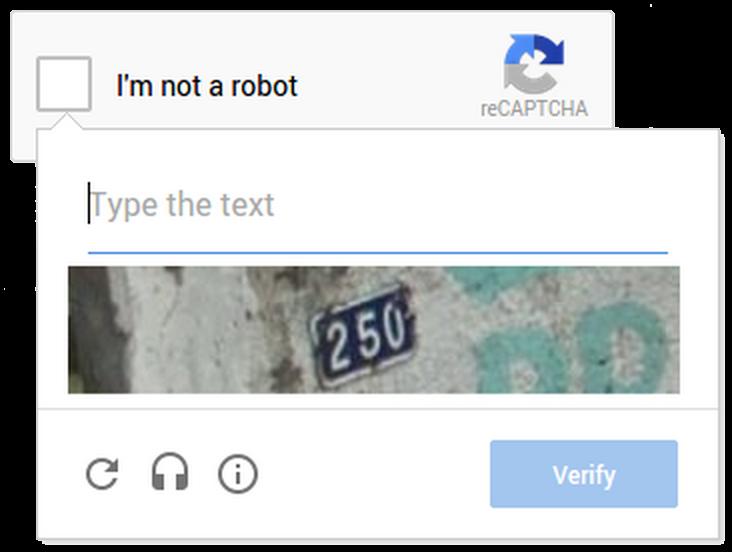 reCAPTCHA No CAPTCHA