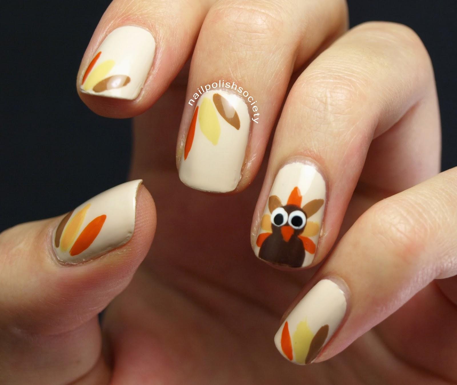 Thanksgiving Nails: Nail Polish Society: Thanksgiving Turkey Nails