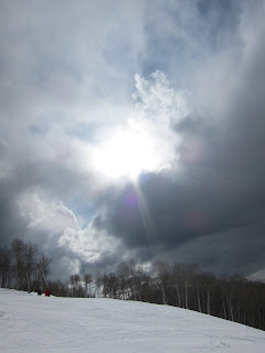 The sun breaking through crowds at Beaver Creek on Cresta