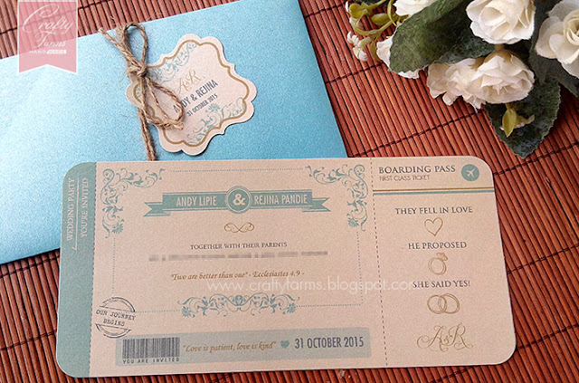 Glamour Turquoise and Cream Wedding Card, Boarding pass, vintage, rustic, garden wedding, handmade wedding invite, diy card