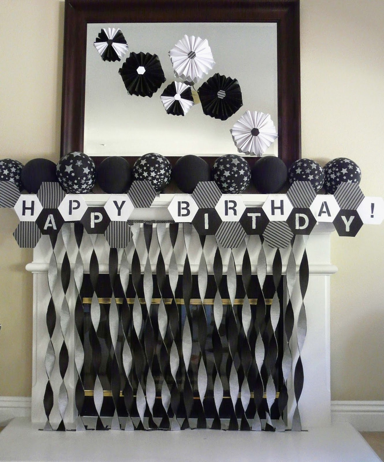 Party modern soccer 7th birthday party - Black silver and white party decorations ...