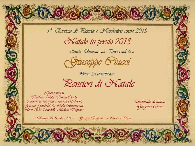 """Premio al Concorso Nazionale """"Natale in Poesie 2013"""""""