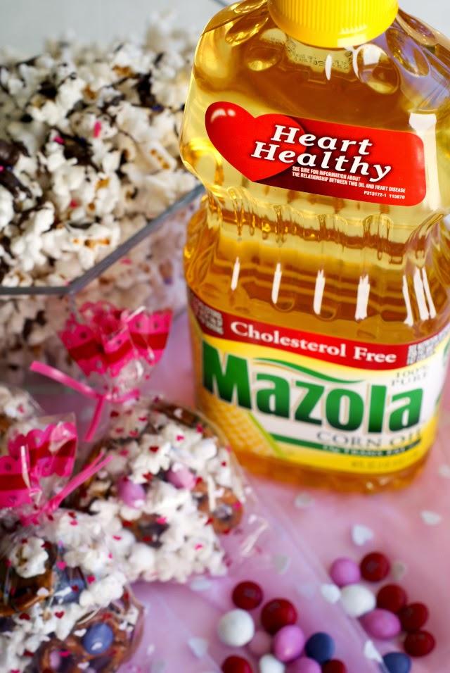 Healthy Salted Dark Chocolate Popcorn made with Mazola Corn Oil!