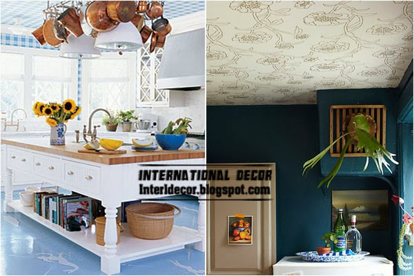 patterned wallpaper on the ceiling, kitchen ceiling ideas