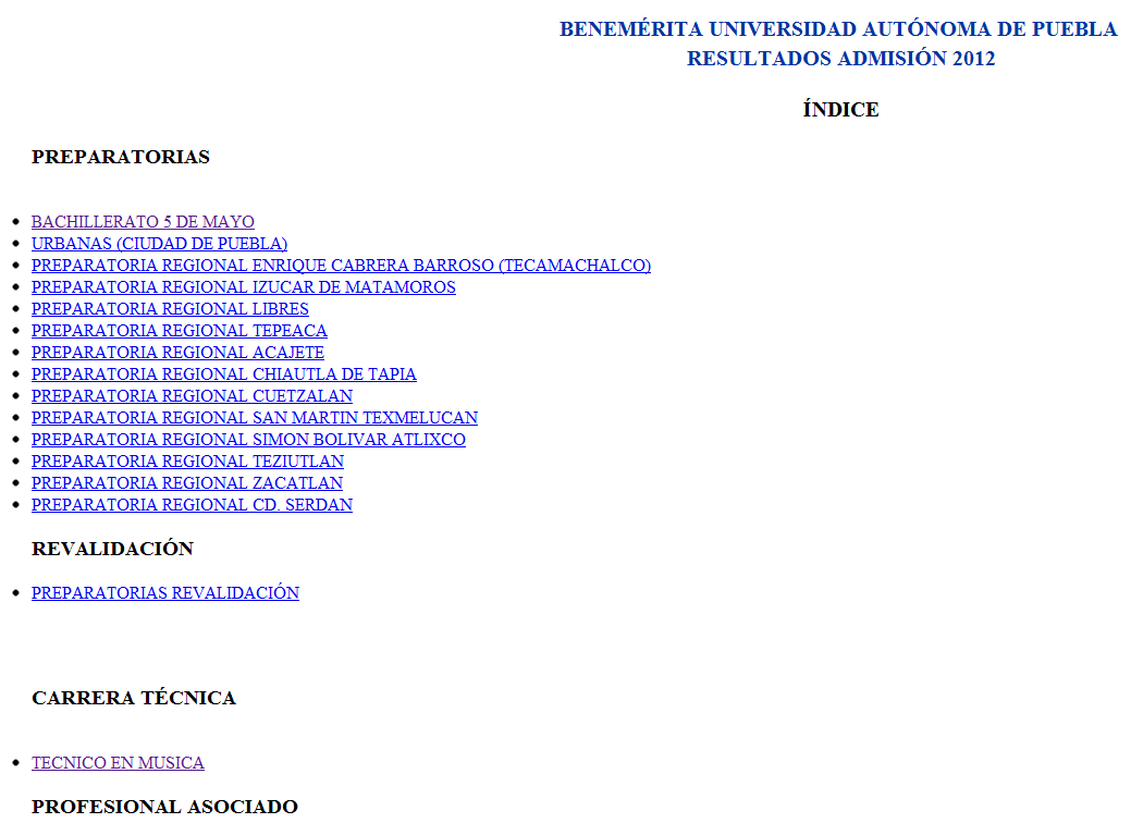 Resultados exámen a la BUAP 2012
