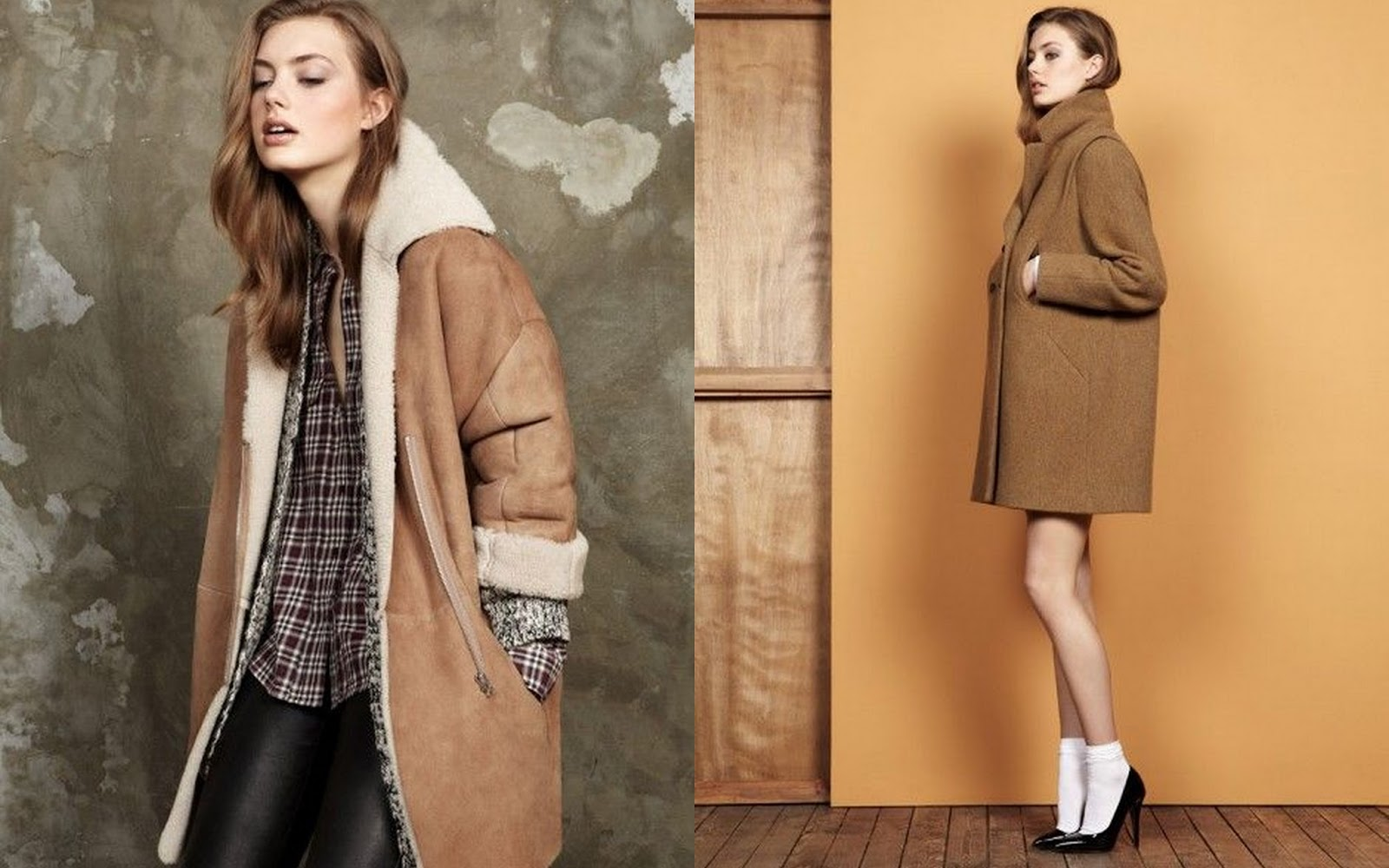 Sheepskin coat, Shearling coat, palid shirt, Pablo, Pablo Gerard Darel, camel coat and shoes, pointy shoes, heel s and socks