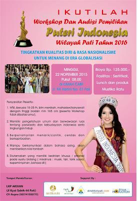 poster pamflet pemilihan puteri indonesia wilayah pati 2016