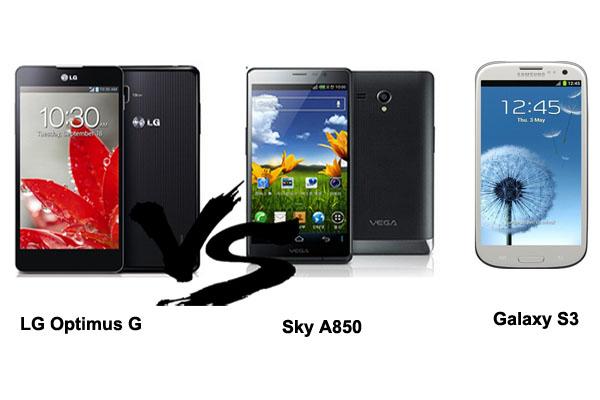thiết kế  của LG Optimus G ,sky A850 và Samsung galaxy S3