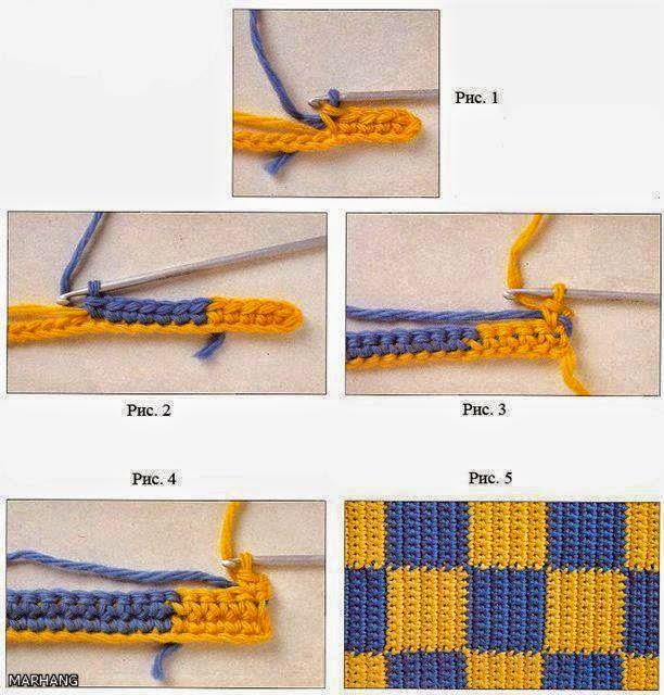 Cómo tejer a cuadros en dos colores al crochet