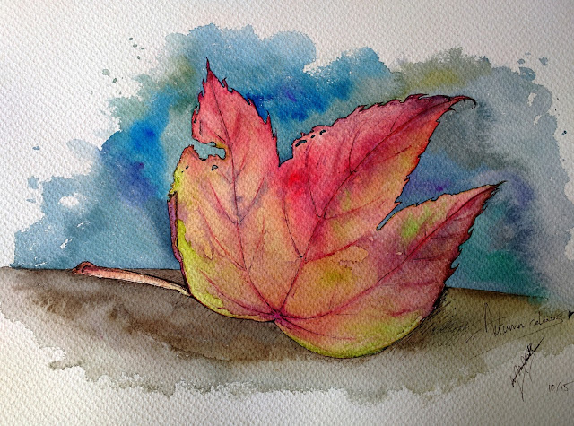 Watercolour artwork: I love Autumn colours (leaf) by Elizabeth Casua, tHE 33ZTH oRDER painting