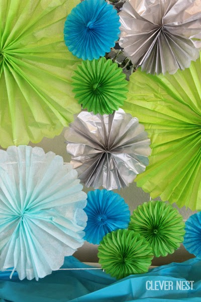 easy diy tissue paper fans, so cute! #turquoisegraylime #littleman #hipsterbabyshower #glasses #bowtie #clevernest #bowtienapkins #babyshowergame
