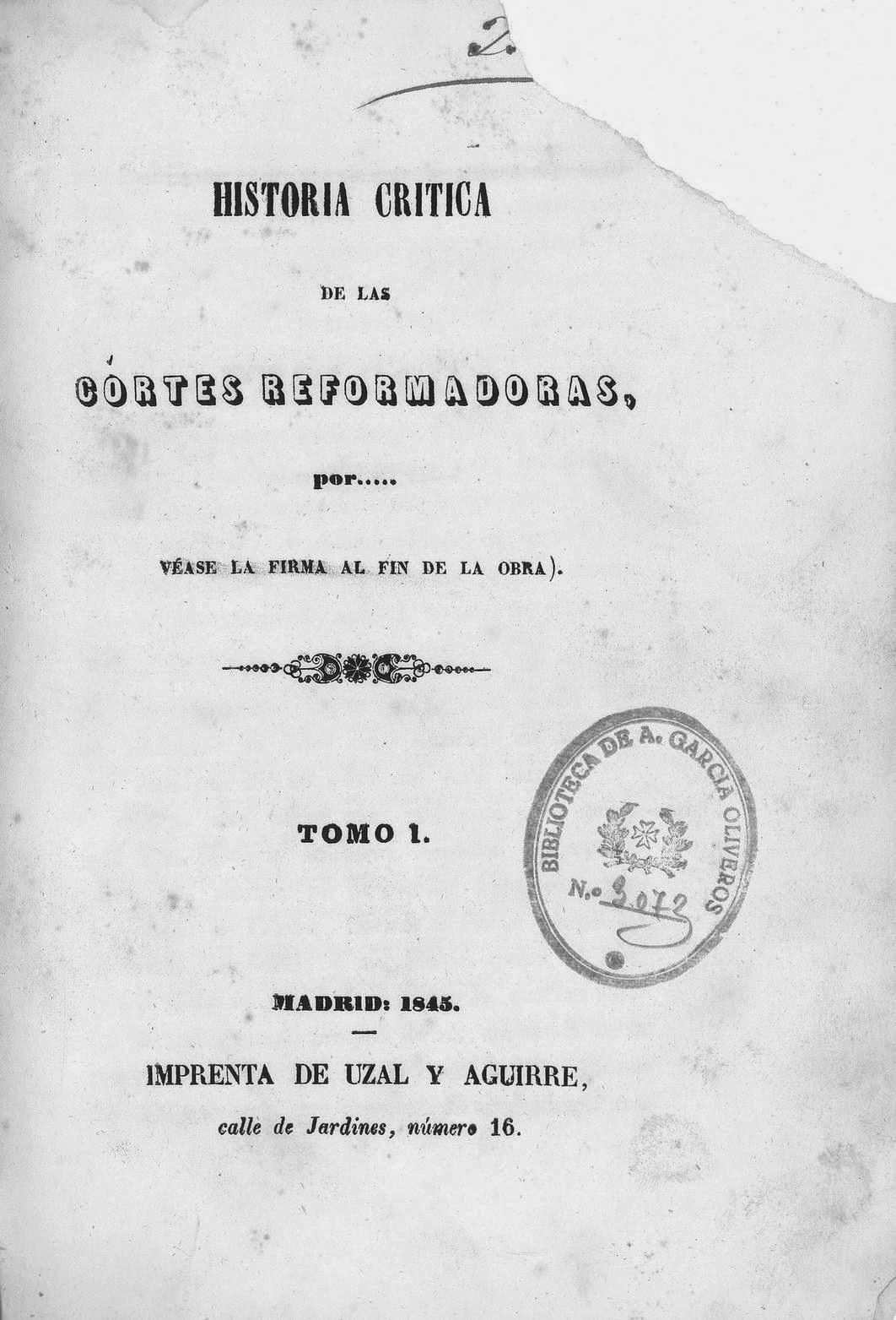 Historia crítica de las cortes reformadoras