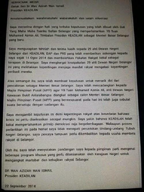 Akhirnya Wan Azizah Redha Perlantikan Azmin Sebagai MB Selangor