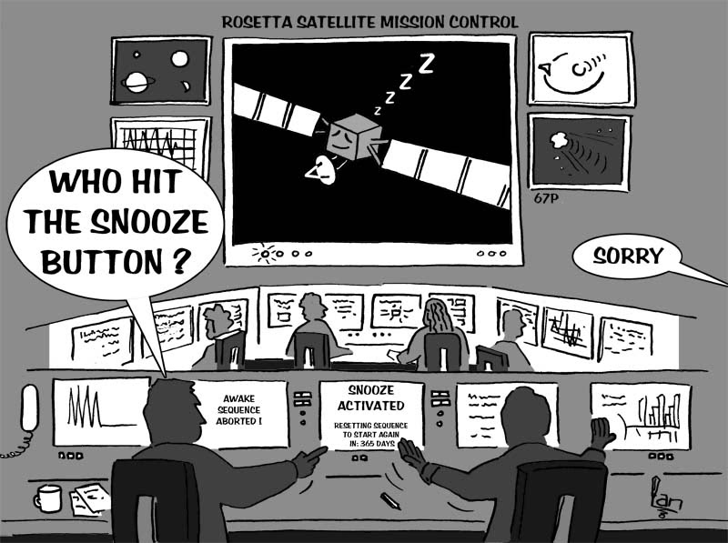Rosetta Satallite - comet chasing probe cartoon