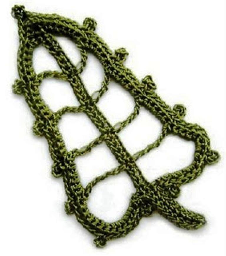 angel: Hojas tejidas con Crochet