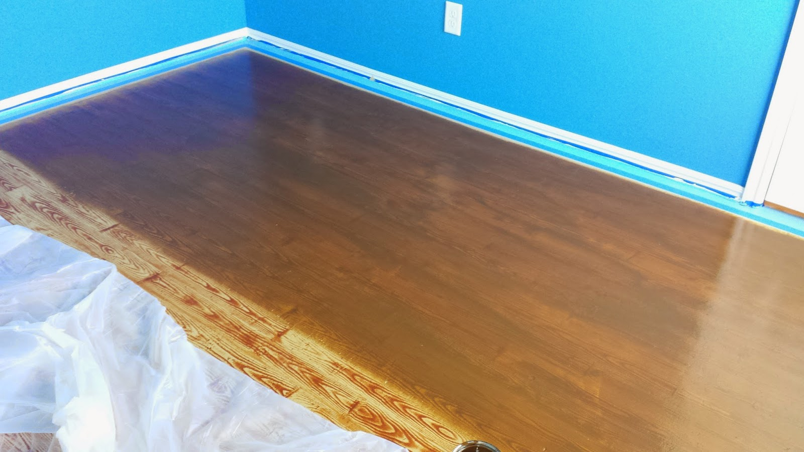 Painted Plywood - Applying wood stain