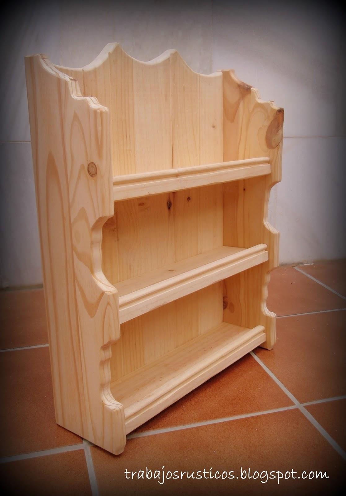 Trabajos r sticos especiero rustico i - Como hacer cocinita de madera ...