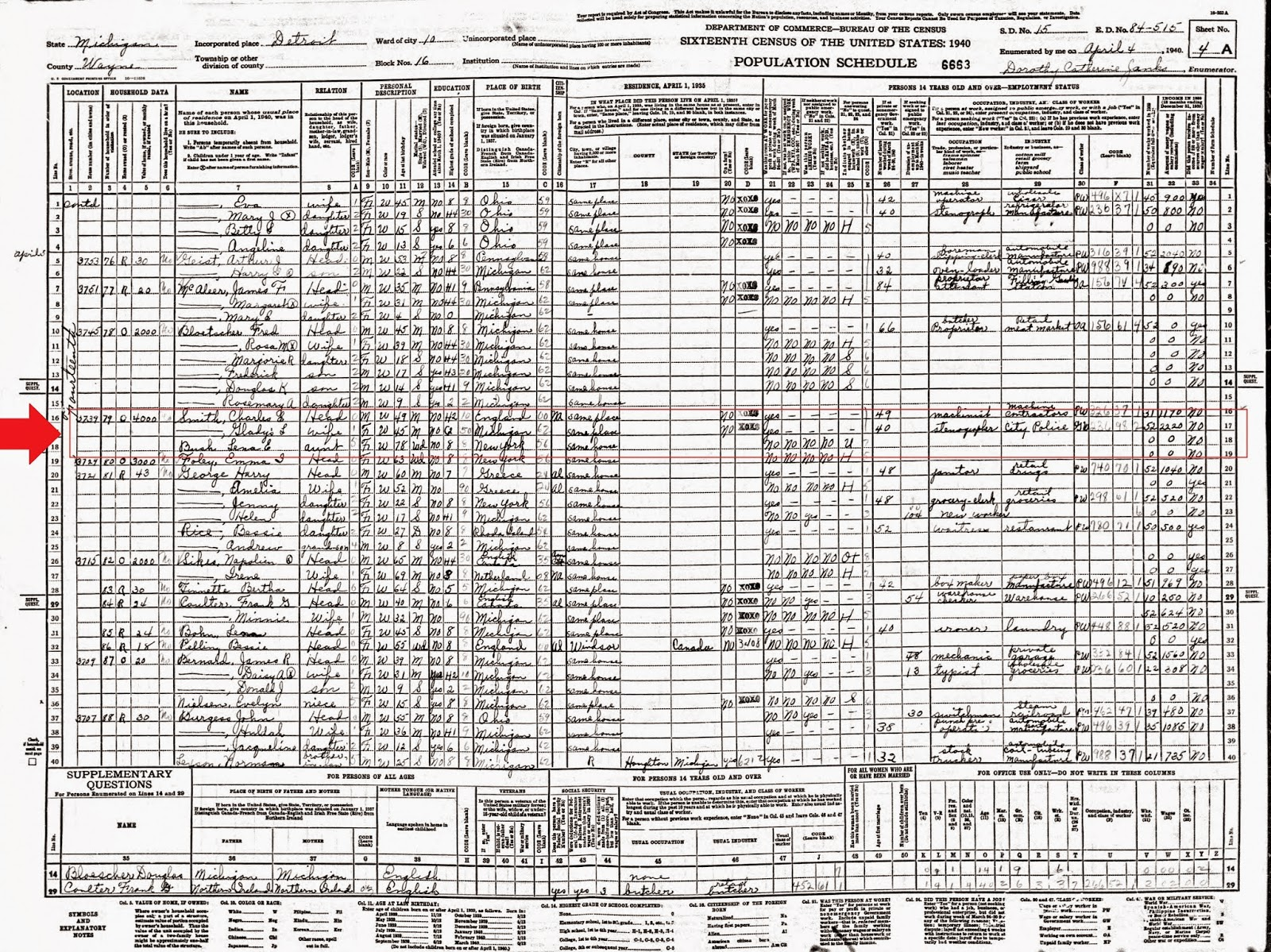 Michigan family trails evaluating your records on an individual 1940 census charles gladys smith lena barsh detroit michigan aiddatafo Choice Image