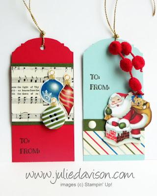 Stampin' Up! Cozy Christmas Home for Christmas Gift Tags #stampinup 2015 Holiday Catalog #christmas www.juliedavison.com