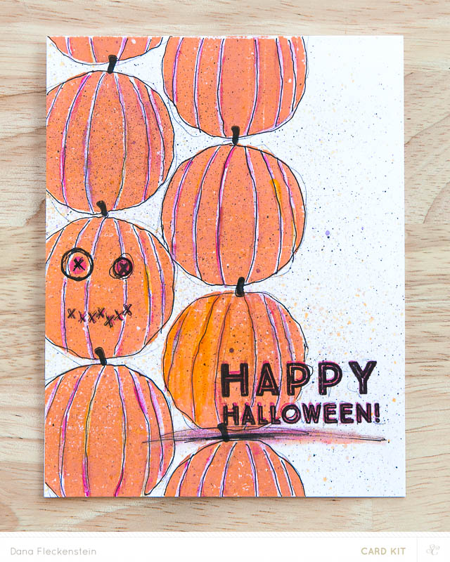 Handstamped happy halloween card by @pixnglue