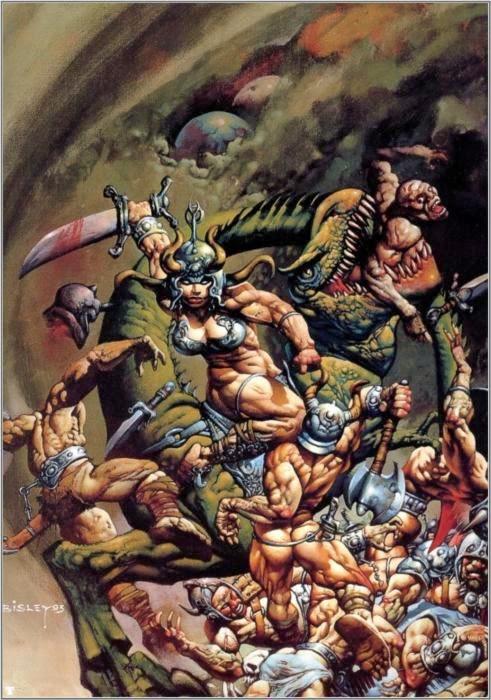 Dessin de Simon Bisley représentant une guerrière sexy au mileu de la bataille