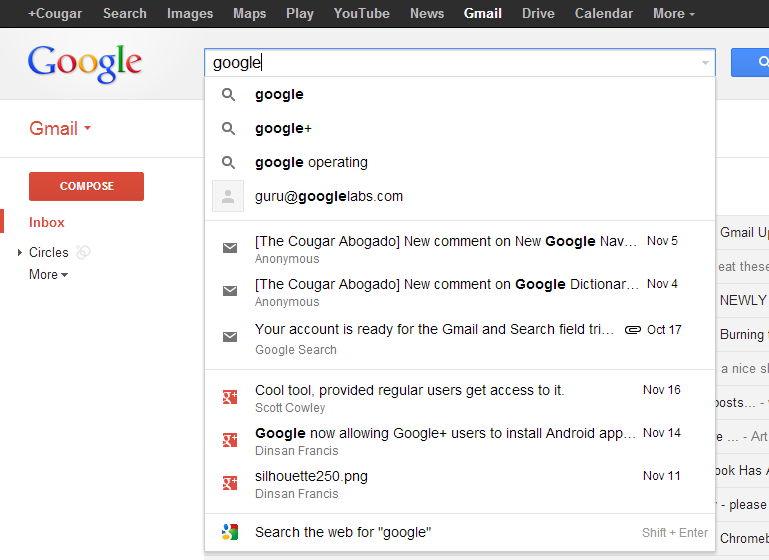 The Cougar Abogado: Gmail/Drive/Google Search Field Test ...