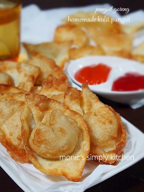 pangsit goreng dengan kulit pangsit homemade